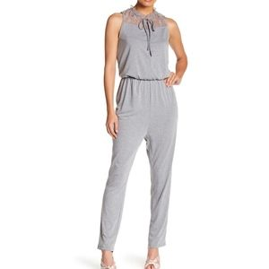 TOV Grey Lace Contrast Jumpsuit